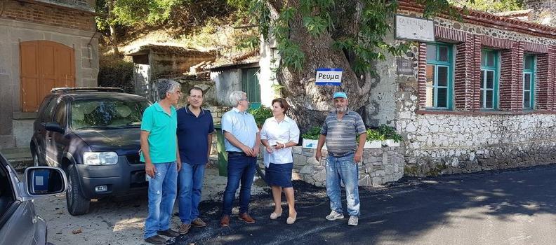 Επίσκεψη της Περιφερειάρχη στο έργο συντήρησης της οδού Βατούσα-Ρέμα-Χίδηρα