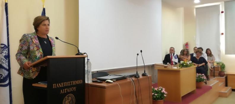 Ομιλία της Περιφερειάρχη  στην τελετή ανάληψης καθηκόντων των νέων πρυτανικών αρχών του Πανεπιστημίου Αιγαίου