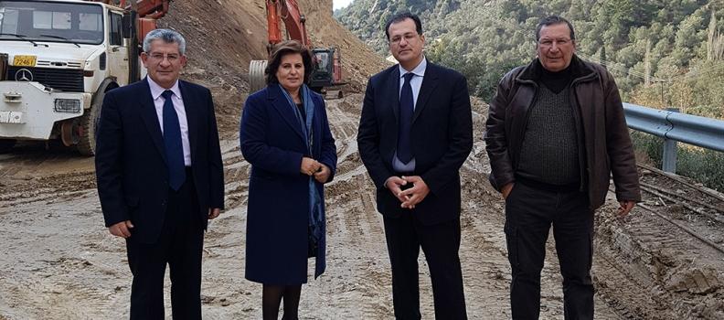 Επίσκεψη της Περιφερειάρχη στο έργο της κατασκευής της παράκαμψης της Λαγκάδας στο Πλωμάρι